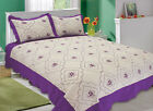 ALL FOR YOU Reversible Bedspread, Coverlet,Quilt *48* purple flower Embroideries image