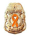 Orange Awareness Ribbon Pin Police Badge Officer Sheriff Cancer Causes Gold New