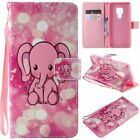 Pink Elephant PU Leather Wallet Case Flip Cover Stand Card Slot For All Phones