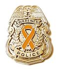 Orange Awareness Ribbon Pin Police Badge Officer Sheriff Cop Cancer Causes New S