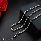 Hot Man Women Various 316L Stainless Steel 2mm/3mm/4mm/5mm Silver Chain Necklace