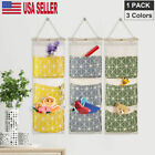 3 Pockets Door Hanging Storage Bags Wall Mounted Closet Organize Pouch Canvas US