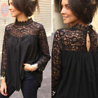 US Women Fashion Lace Patchwork Top Blouse Ladies High Neck Casual Loose T-Shirt