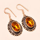 Faceted Citrine Topaz Gemstone .925 Sterling Silver Earring 1.7""