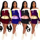 Sport SUIT Crop zipper TOP+string elastic waist Skirt patchwork color block Set