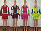 Sport SUIT Crop zipper TOP+string elastic waist Shorts patchwork color block Set