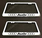 2xAudi-LL  STAINLESS Chrome License Plate Frame w/screw Caps (Style L)