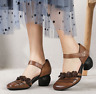 Summer Ladies Round Toe Slip On Ankle Buckle Mid Block Heels Casual Leather hoes