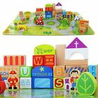 Wooden Building Blocks for Toddlers & Educational Baby Toy Jigsaw Puzzle Mat