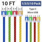 Lot 10Ft Type-C Micro USB Data Sync Charger Charging Nylon Braided Cable Cord