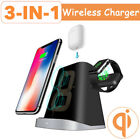 Qi Wireless Charger Dock Station Stand For Samsung iPhone Airpods Apple Watch US