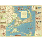 Colonial Craftsman 1940 Map Cape Cod MA USA Framed Wall Art Poster