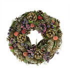 "13"" Sugared Purple and Red Pine Cone and Berries Artificial Christmas Wreath - U"