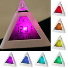 US 1~3X Digital LCD LED Indoor Thermometer 7-Color Changing Pyramid Alarm Clock