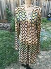 Anthropoloie Moth M/L Cardigan Wrap Sweater Funky Cover Up Tan Teal Brown Knit