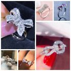 Women Fashion 925 Silver White Sapphire Bow Jewelry Ring Engagement Wedding Gift