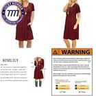 Auselily Women'S Short Sleeve Pleated Loose Swing Casual Dress With Pockets Knee