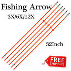 "32"" Bowfishing Arrows Archery Arrows for Recurve Bow Screw in Tips 3/6/12Pcs"