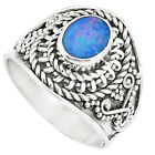 Natural Blue Doublet Opal Australian 925 Silver Ring Jewelry Size 7 M84150