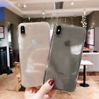 For i Phone XS Max 8 Plus Crystal Bling Glitter Rubber TPU Clear Soft Case Cover