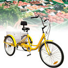 "New Unisex Adult 24"" 3-Wheel 7-Speed Tricycle Bicycle Bike Cruise W/ Basket"