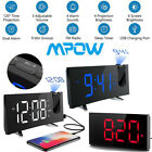 5 LED Projection Projector Alarm Clock Dual Alarm Snooze Timer FM Radio USB US