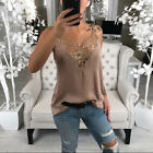 Ladiers Lace V-Neck  Tops Sleeveless T-Shirt Casual Sexy Loose Summer Vest