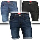 Mens Denim Shorts Slim Fit Stretch Chino Flat Front Jeans Half Pants
