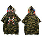 Bape A Bathing Ape Shark Head Green Camo Short Sleeve T-Shirt Hoodie Loose Tee