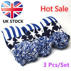 Golf Club Head Covers Set 3 Pcs Driver Fairway Hybird Knitted Pom Pom Headcovers