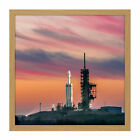 Space X Falcon Heavy Demo Mission Launch Pad Square Wooden Framed Wall Art Print