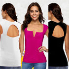 Ladies Low Cut V Neck Tops Slim Pure T-Shirt Casual Loose Backless Summer Tops