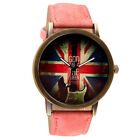 Guitar Vintaga Street Pattern Leather Band Analog Quartz Vogue Wrist Watches UK