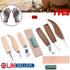 5× Wood Carving Knife Kit Chisel Woodworking Whittling Cutter Chip Hand Tools F/