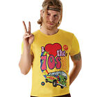 Adult I Love The 70s 1970s Fancy Dress Costume Party Yellow T-Shirt Top
