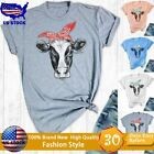 Women Cute Cow T-Shirt Short Sleeve Shirts Cowgirl Shirt Country Southern Tops