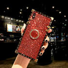 Bling Glitter Square ring Stand Phone Case Cover For i Phone XS Max XR 7 8 Plus