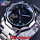 Blue Ocean Transparent Skeleton Dial Mens Automatic Fashion Mechanical Watch US