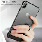 For i Phone XS Max 8 Thin Frameless Acrylic Matte Shockproof Case Cover W/ Ring