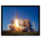 Space X Arabsat-6A Rocket Launch Pad Wall Art Print Framed 12x16