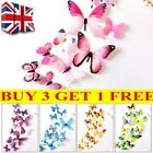 12 X 3d Decal Colourful Butterflies Wall Stickers Home Decor Uk Stock