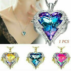 925 Silver Angel Wing Heart Crystal Rhinestone Chain Pendant Necklace Jewelry