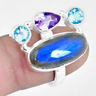 11.95cts Natural Blue Labradorite Amethyst 925 Silver Ring Size 7 M91011