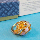 Vintage 1975 Avon OPALESCENT RING Flower Cluster Gold Tone Size S