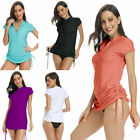Women's UV Sun Protection Half Zipper Short Sleeve UV Rash Guard Swim Shirt Top