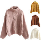 Women Solid Color Turtleneck Long Sleeve Knitting Pullover Keep Warm Sweater New
