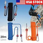 65.6 ft 12mm High Strength Outdoor Rock Climbing Camping Rescue Rope W/ Buckles