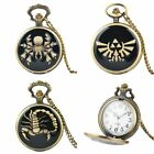 Retro Vintage Steampunk Pocket Watch Quartz Pendant Men's Necklace Chain Gift image