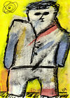 not the touchy-feely type e9Art ACEO Outsider Art Brut Painting Intuitive Naive
