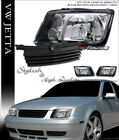Black Headlights Signal Fog+Horizontal Front Grille For 1999-2005 Jetta Bora Mk4